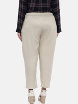 The Pink Moon Plus Size Cream Cotton Pants | Cotton Pants in Cream For Formal Wear