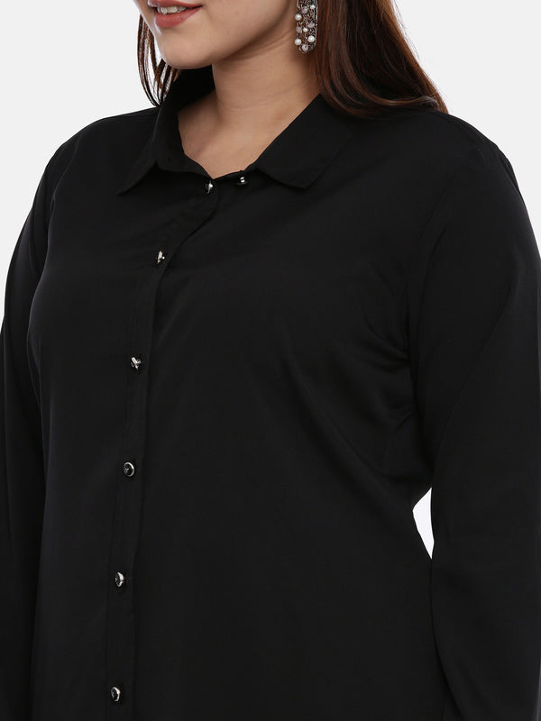The Pink Moon Plus Size Black Longline Shirt | Formal Button Down Shirt in Black Polyester | Sizes XL to 6XL