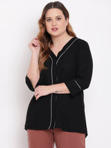 Plus Size Women Black Solid Top