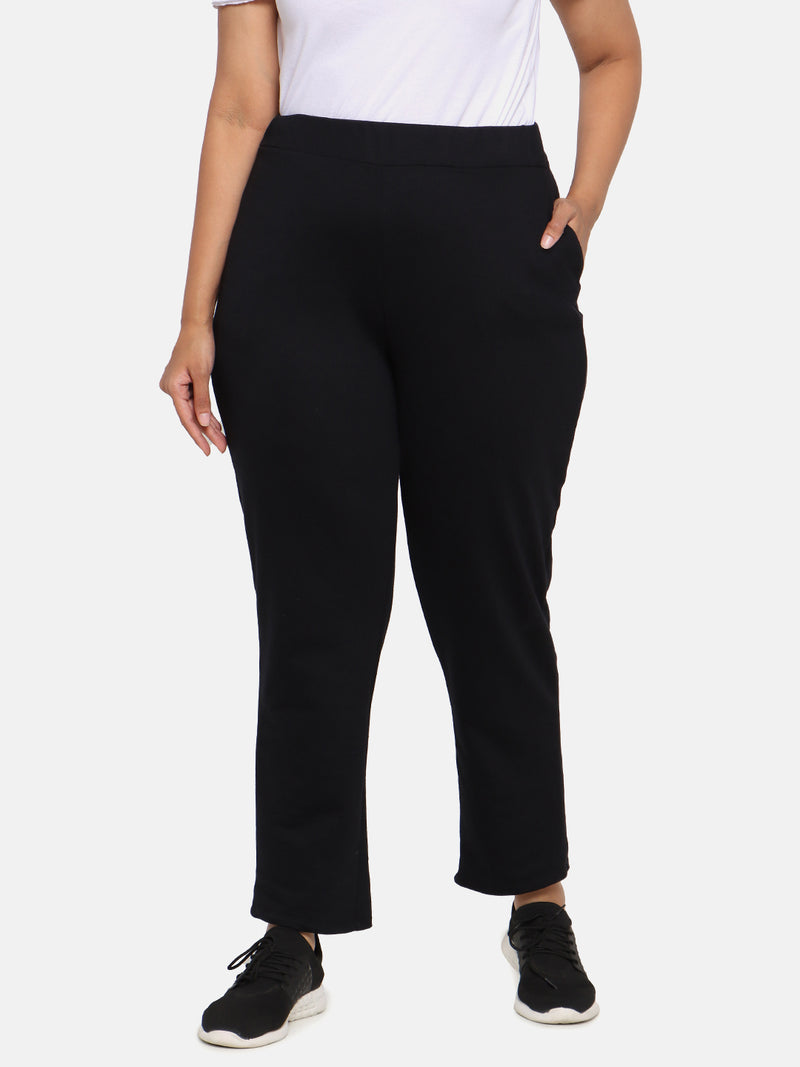 Black Cotton Track Pants