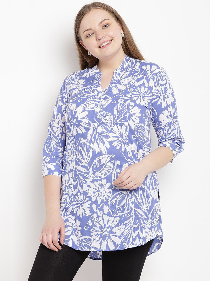 Plus Size Blue And White Floral Printed Tunic Top | Blue and white top with a floral print | Sizes Large to 3XL