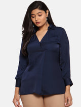 Navy Satin top with silver buttons