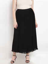 Long Black Pleated Chiffon Skirt