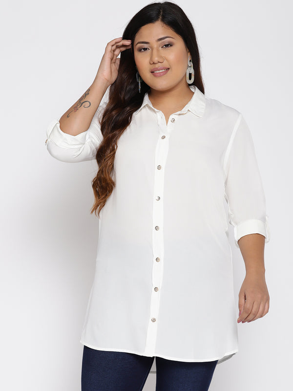 White long button down shirt
