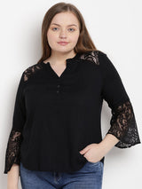 Black v-neck bell sleeve top with lace detailing