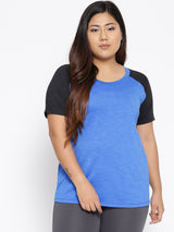 Blue and black workout t shirt