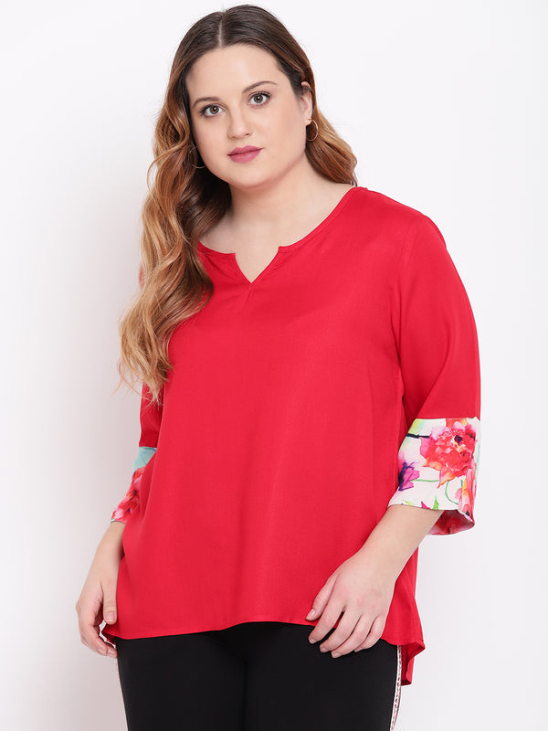 Red top with digital print cuff