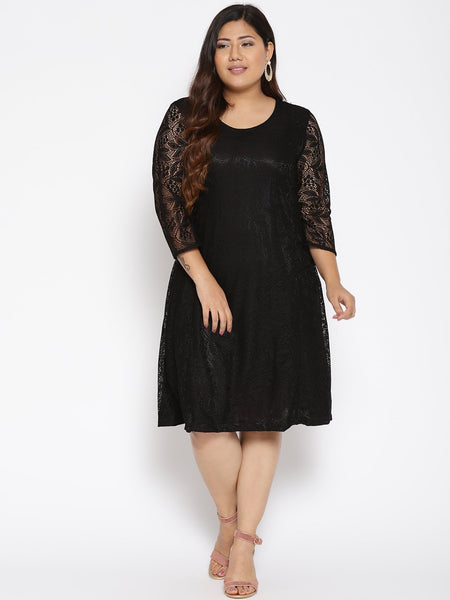Black lace A-line party dress