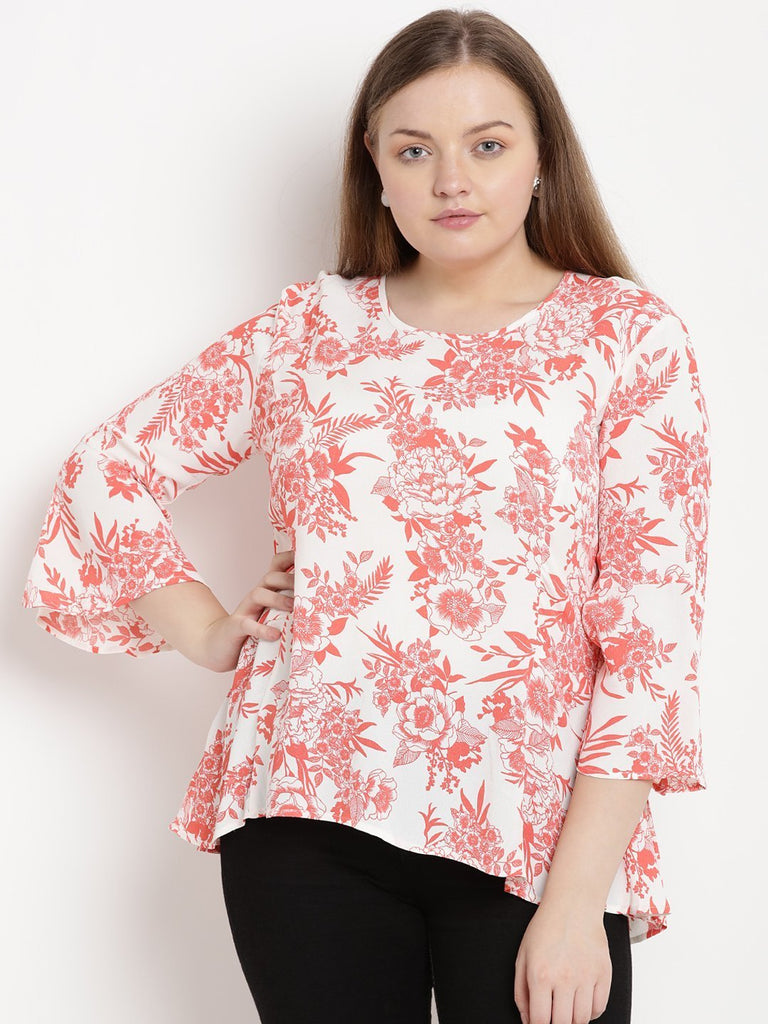 White and orange floral printed top