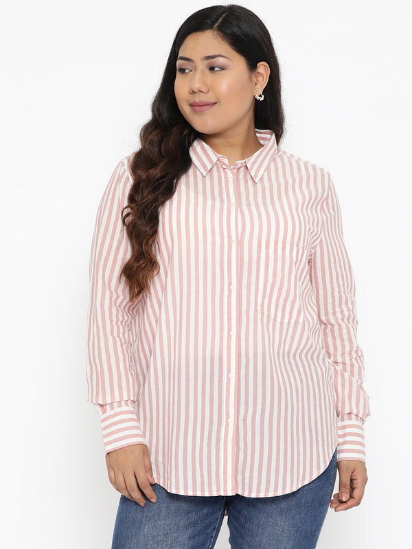 The Pink Moon Plus Size Cotton White And Pink Stripe Button Down Shirt | Pink Striped Button Down Shirt In Pure Cotton | Sizes L to 4XL