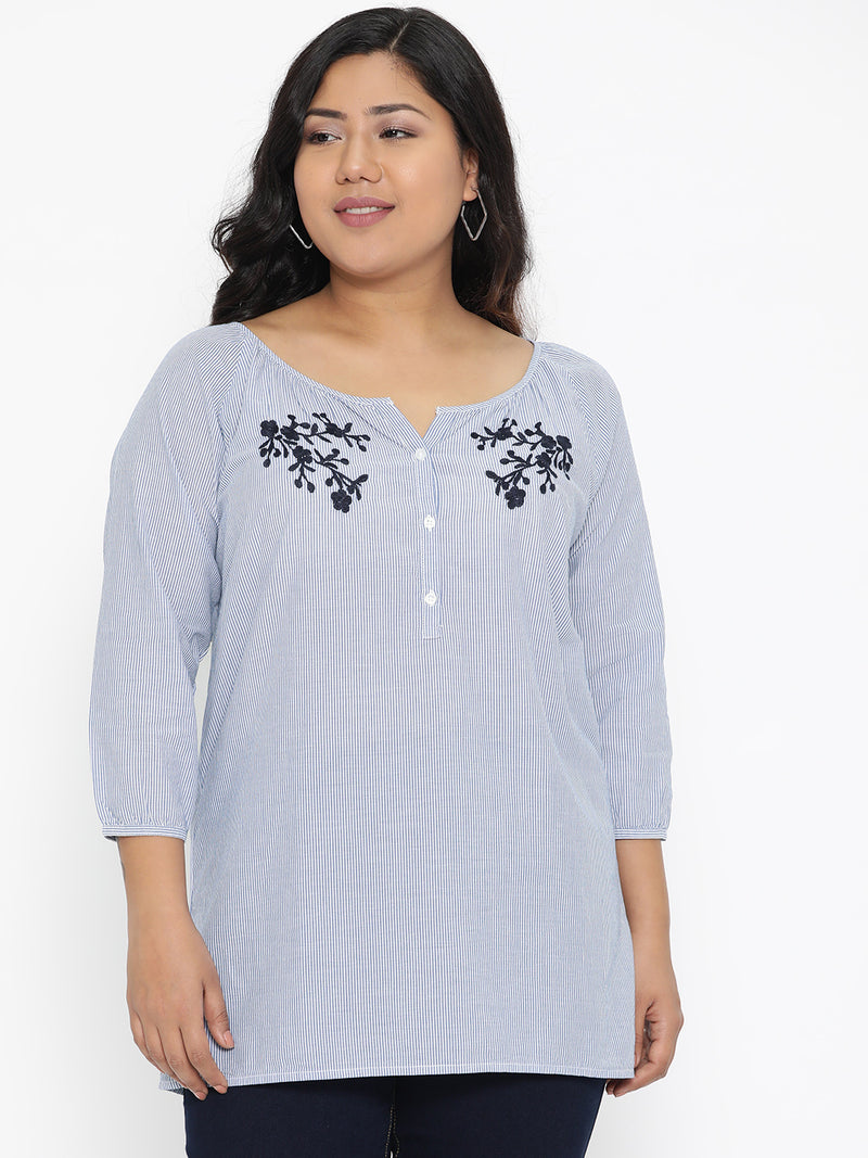 Blue Stripe embroidered top
