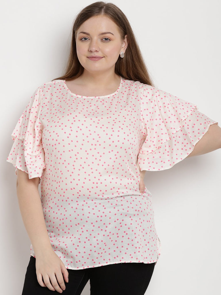 Pink and White Polka Dot Top
