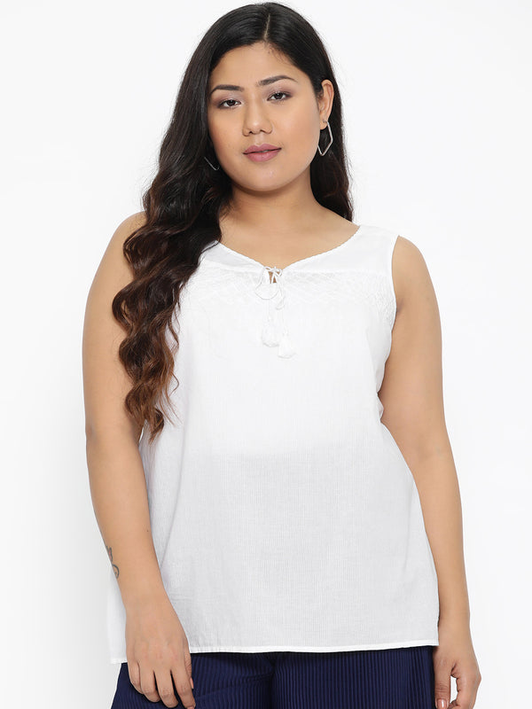 White Sleeveless cotton top