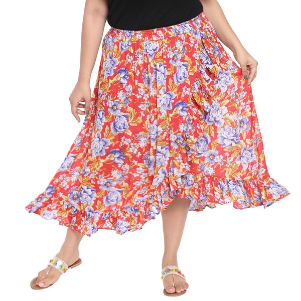 Red floral printed ruffled skirt