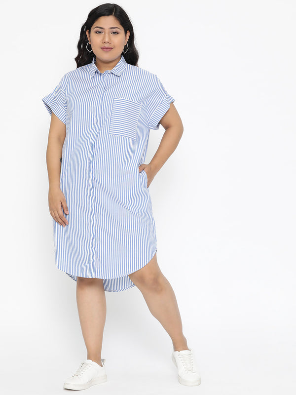 The Pink Moon Plus Size Blue Stripe Drop Shoulder Shirt Dress | Casual Shirt Dress With Blue and White Stripes | Sizes 2XL to 6XL