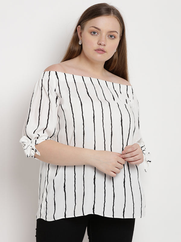 The Pink Moon Plus Size Off Shoulder Stripe Top| White and Blue-Grey Strip Top With An Off-Shoulder | Sizes XL to 6XL