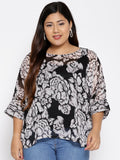 Black white floral chiffon top