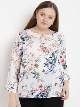 Off-white, floral printed top in soft viscose rayon