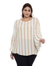 Beige and white Stripe top