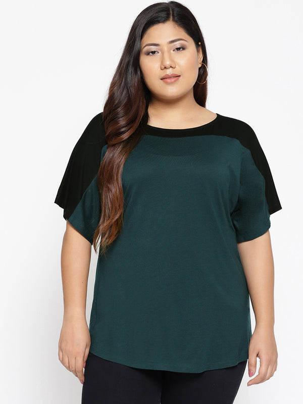 Teal and black colour block jersey t shirt