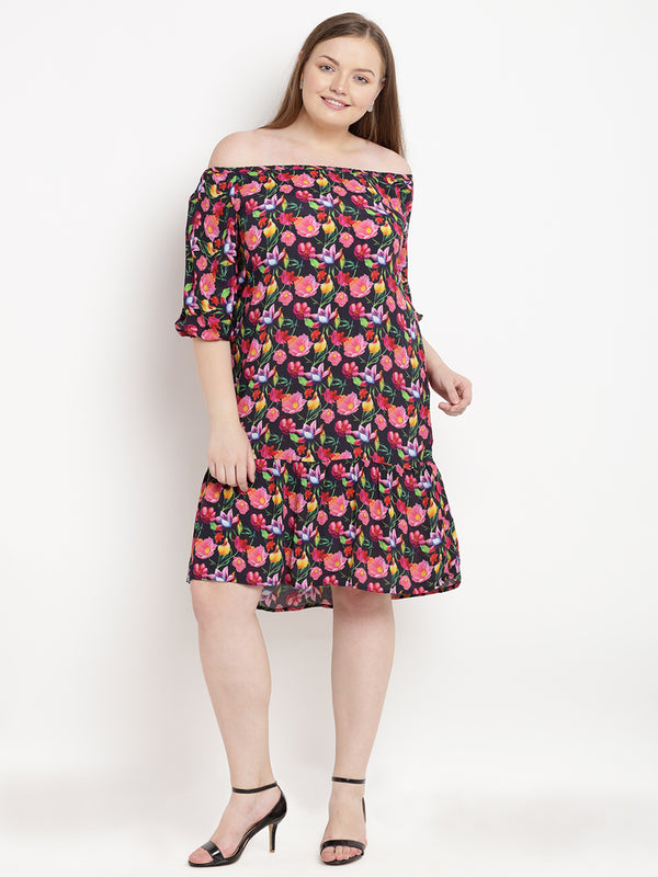Black floral printed off-shoulder ruffled dress