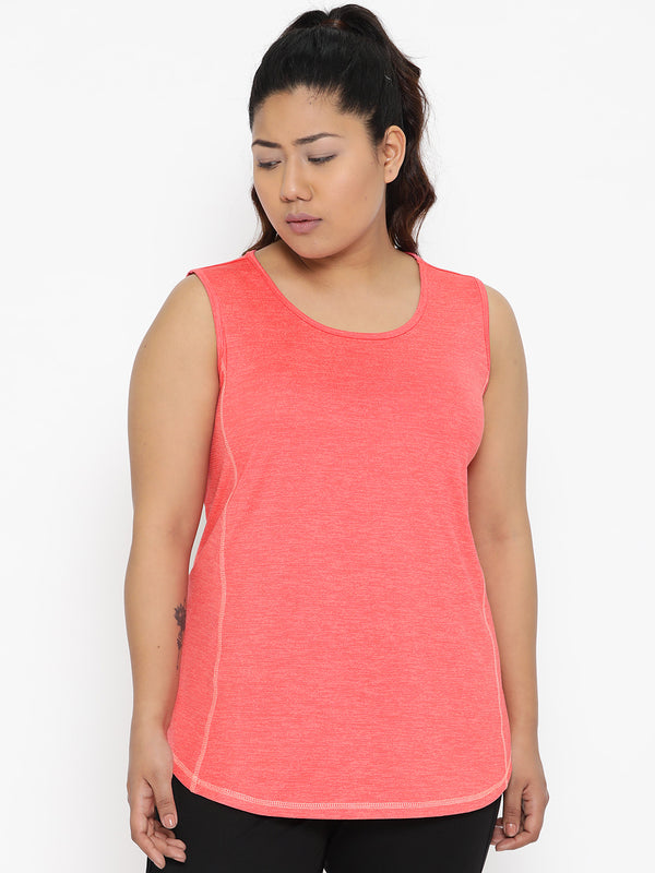 Coral sports t shirt with contrast thread