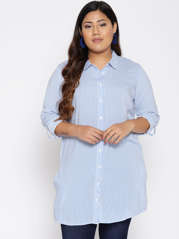 Blue and white stripe long shirt