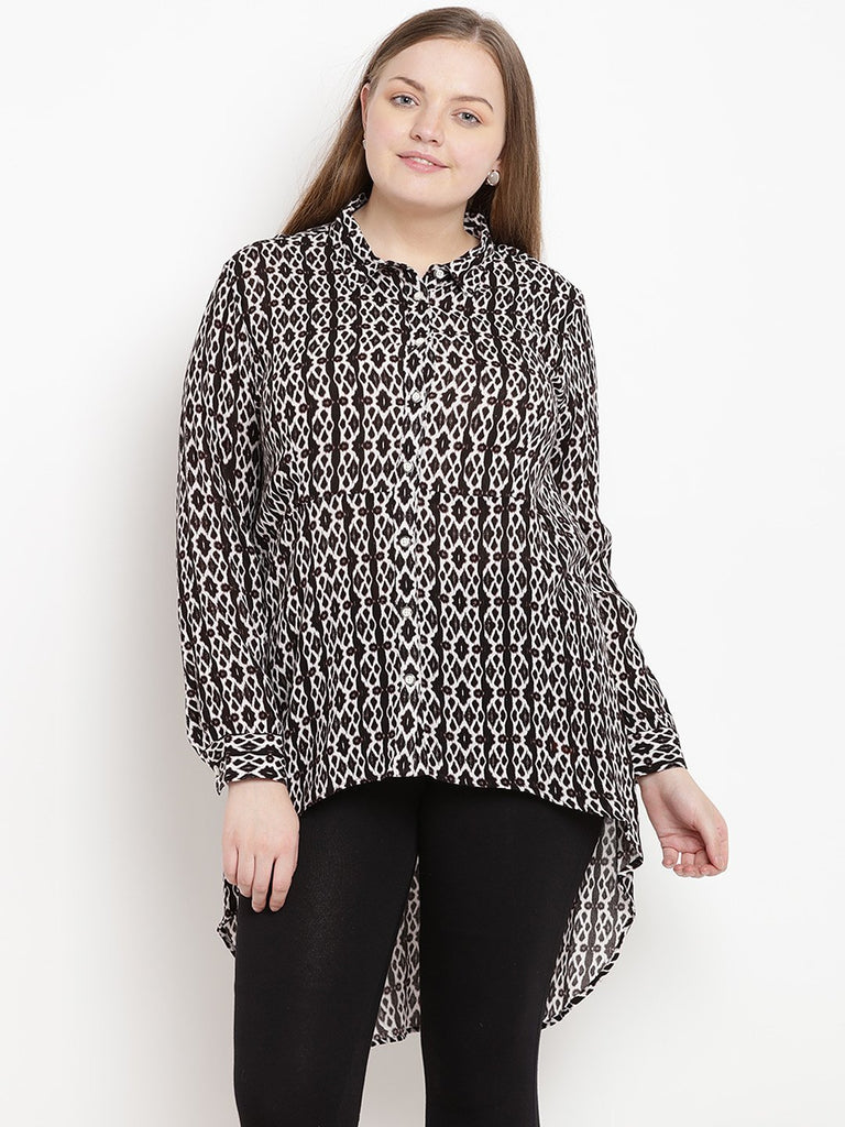 Black Printed High Low Shirt