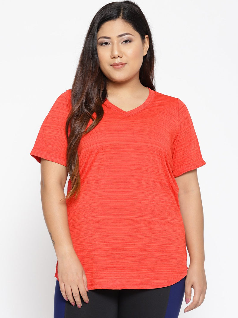 Tomato Red V neck workout t shirt
