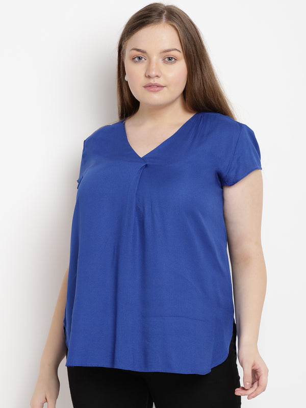 Royal blue front pleat top