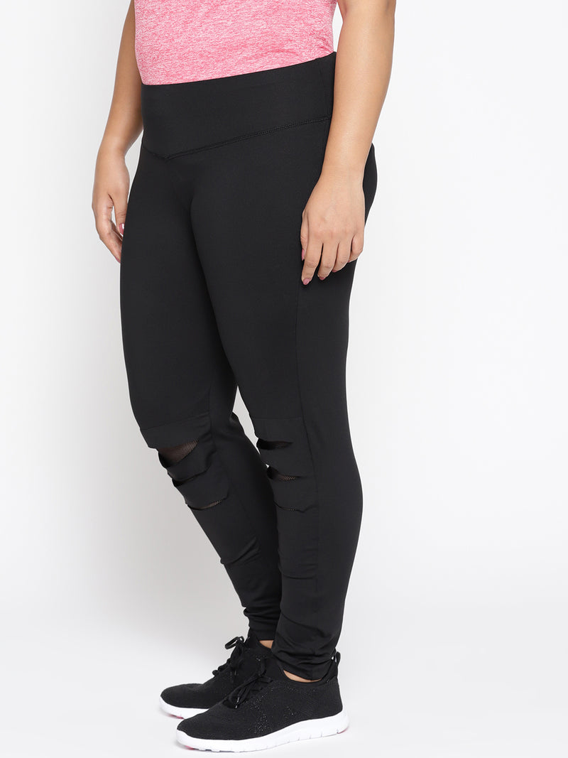Black and net hi fashion track pants