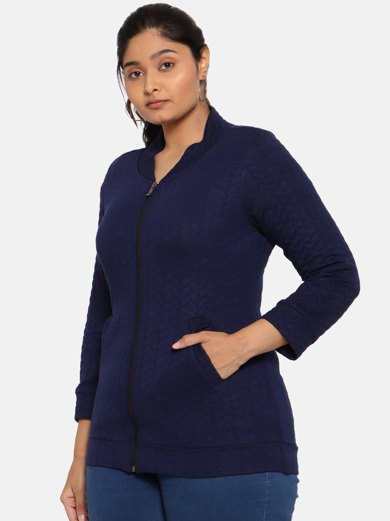 Plus size Quilted navy winter jacket