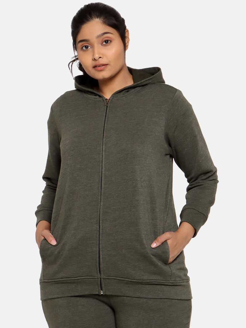 Plus size olive green jacket with hood