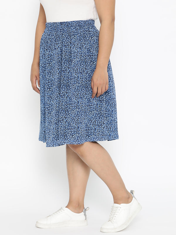 The Pink Moon Plus Size Blue Flared Ditsy Floral Print Skirt | Georgette Skirt In Blue With Black Lining | Sizes 2XL to 6XL