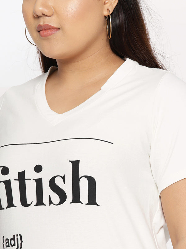 Plus Size Women Off-White Black Printed V-Neck T-shirt