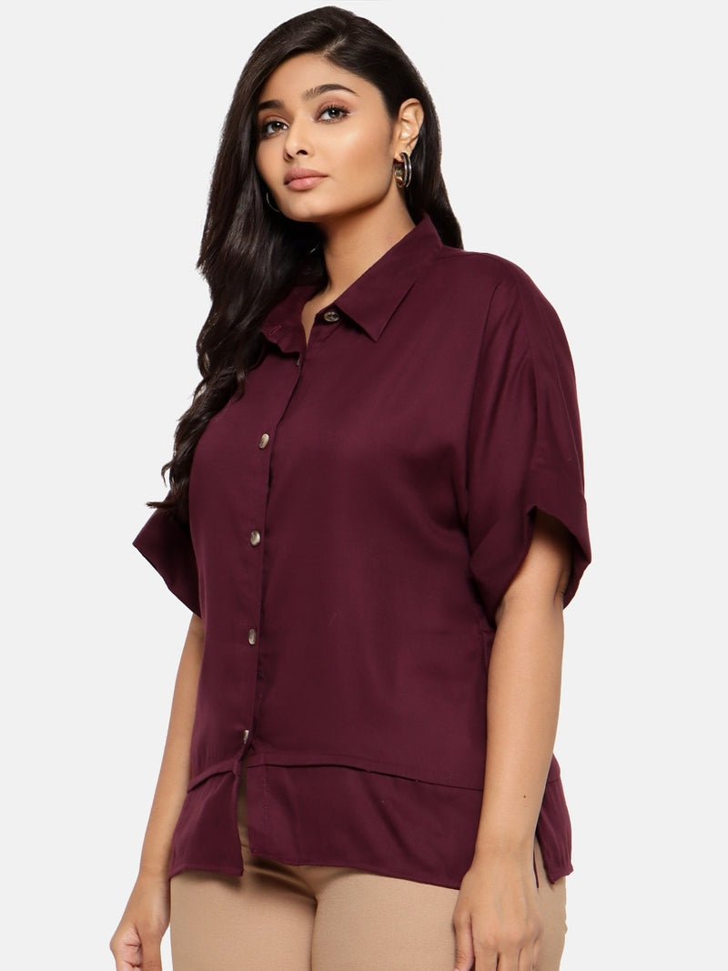Classic bottom panel button down shirt