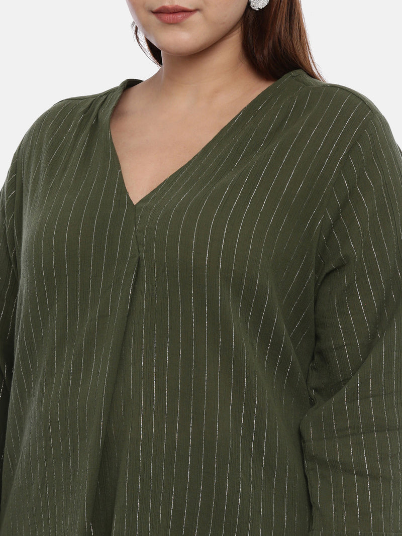 Women Olive Green & Gold-Coloured Striped Top