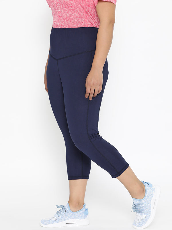 The Pink Moon Plus Size Calf Length Navy Gym Tights | Gym tights in Navy Blue | Sizes 2XL to 6XL