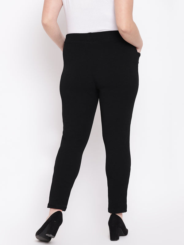 The Pink Moon Plus Size Black Embossed Stretch Pants | Black Pants for Formal Wear|