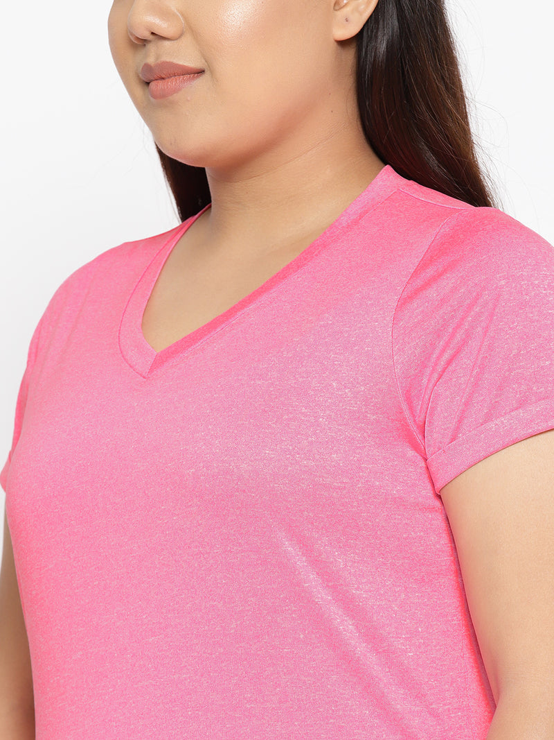 Bright Pink V neck workout t shirt