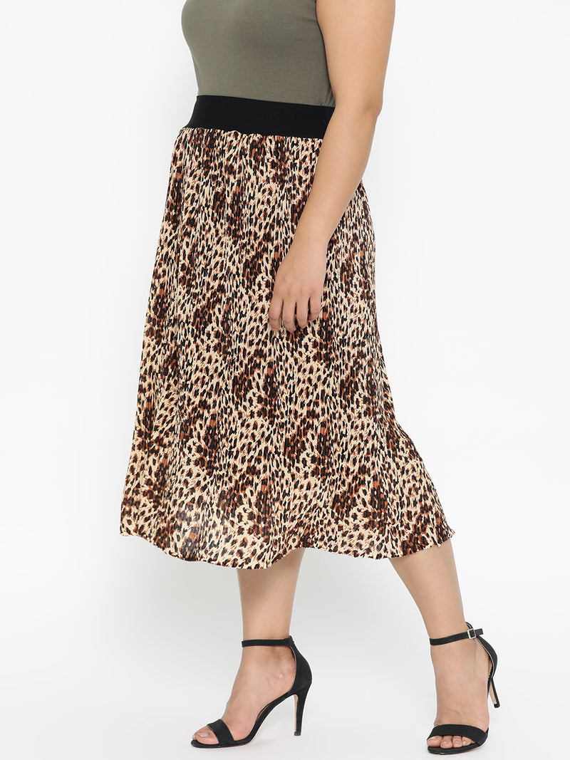 Pleated cheetha print skirt