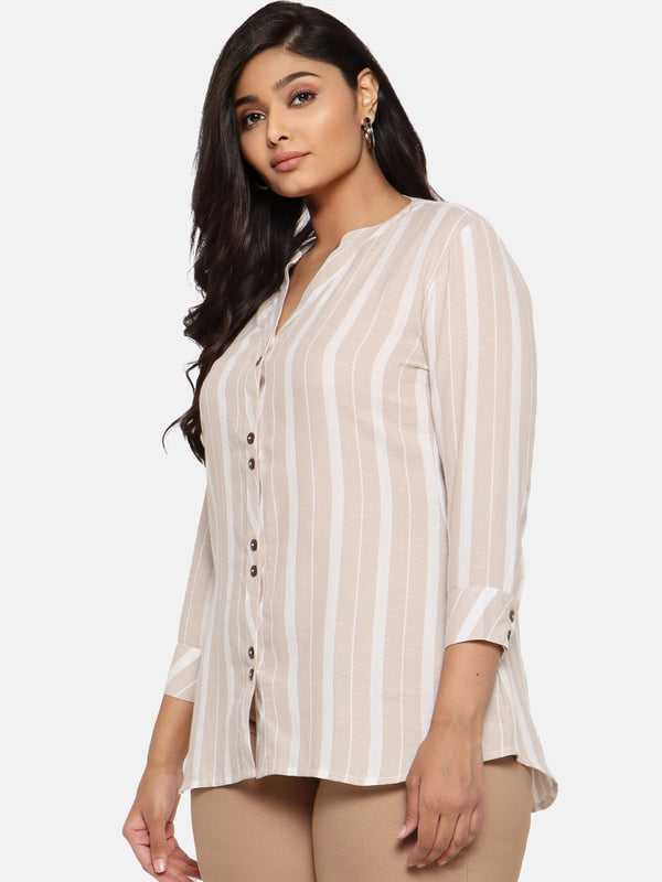 Classic Beige white stripe button down shirt