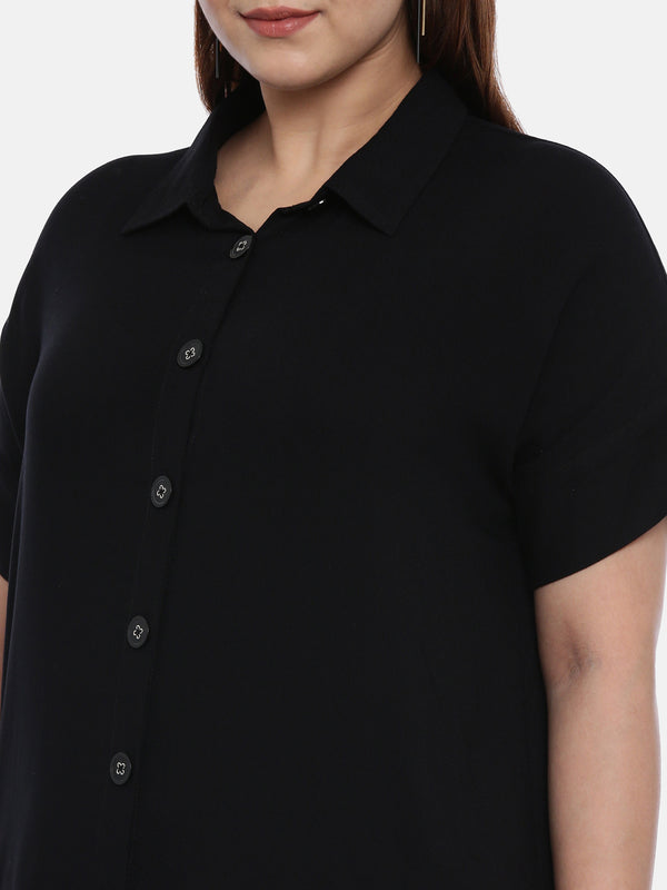 The Pink Moon Plus Size Black Boxy Top | Casual Black Top With Buttons | Sizes XL to 6XL
