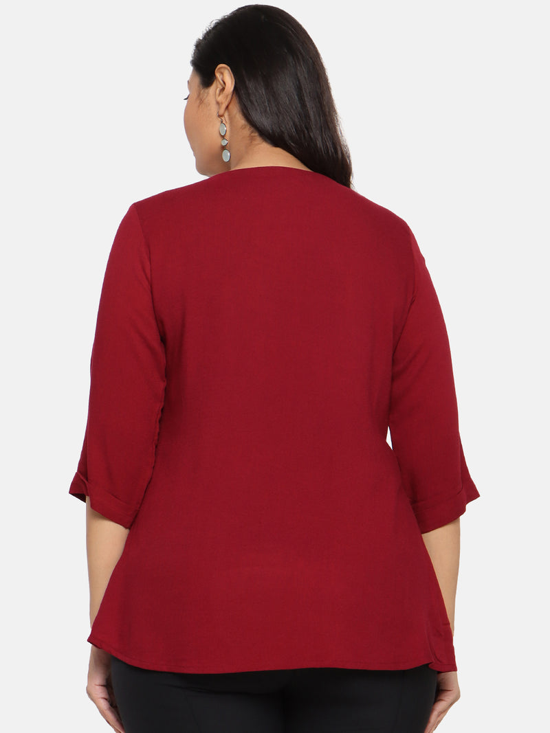 Burgundy front pleat top