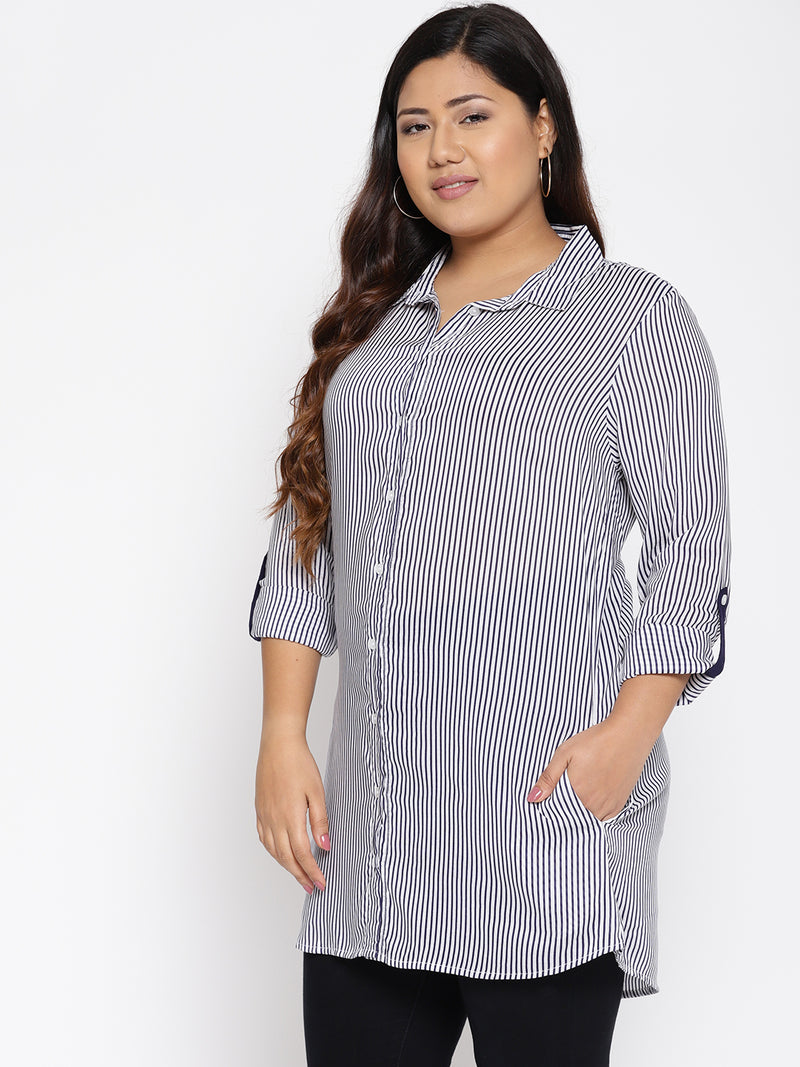 Navy and white stripe long shirt