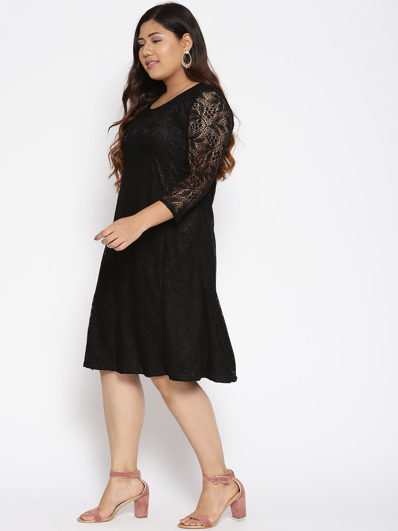 Plus Size Women Black Lace A-Line Dress