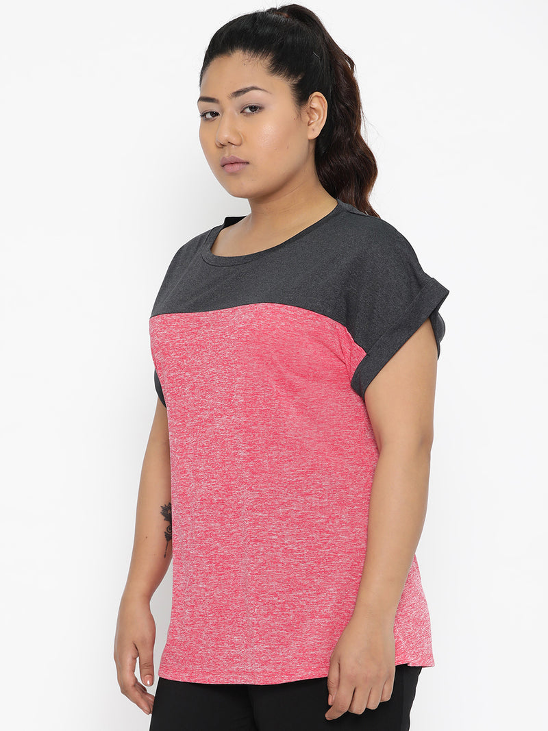 The Pink Moon Plus Size Colorblock Grey And Pink Sports Top | Workout top with pink and grey colours | Sizes XL to 6XL