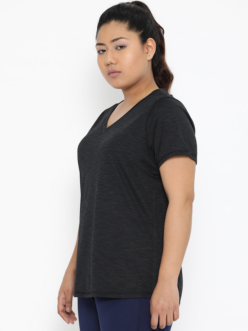 The Pink Moon Plus Size Dark Grey And Mesh Sports T Shirt | Dark Grey T-shirt Active Wear Top | Sizes XL to 6XL