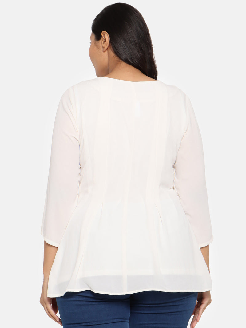 White georgette box pleat top