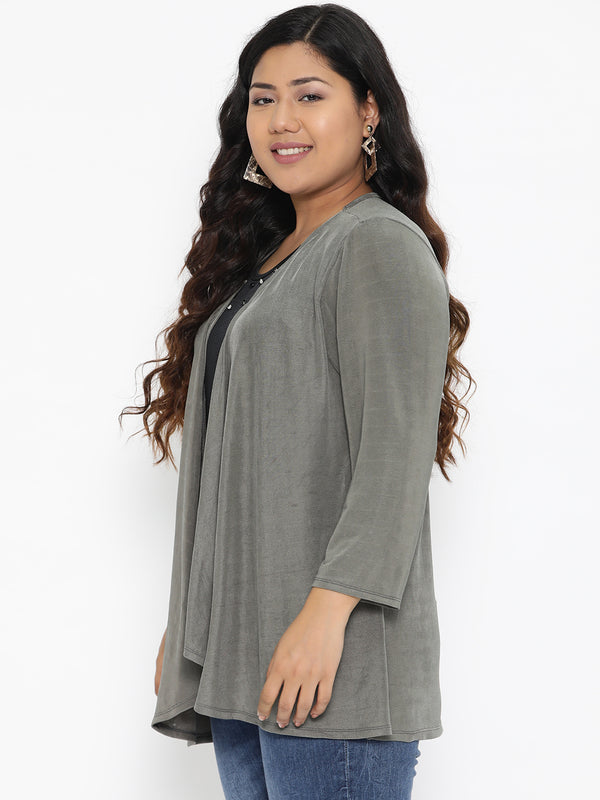 The Pink Moon Plus Size Double Layered Grey And Black Evening Top | Layered Top Suited for Evening Wear | Sizes 2XL to 6XL